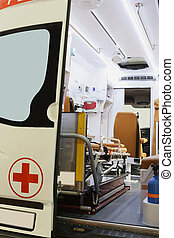 ambulance car - Interior of an empty ambulance car