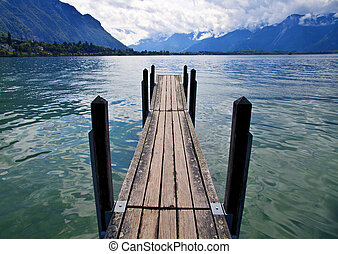 Wooden Dock in Lake Leman, Switzerland