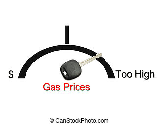 Gas Prices Too High - An automobile or car gas gauge with a...