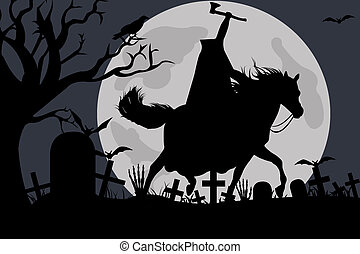 Illustration Of A Headless Horseman - Illustration of a...