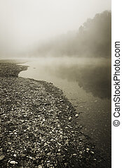 Foggy River Bottom Morning - A foggy morning along the rocky...