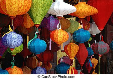Lantern shops in Hoi An - Lantern for sale in in shop in the...