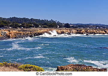 Moonstone Beach, Cambria - Waves pound the rugged shoreline...