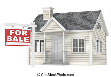 House For Sale - A simple house with a For Sale sign