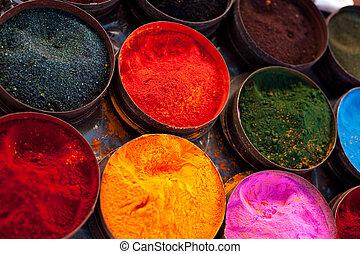 Fabric dyes in Peru - A market stall near Cuzco, Peru, South...