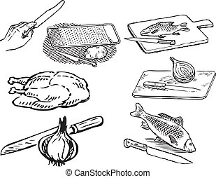 Foods in the kitchen - Food and cooking tools Vector...