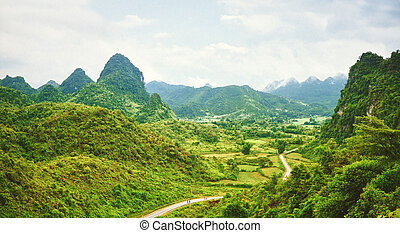 Valley panorama - Beautiful mountain valley with road...