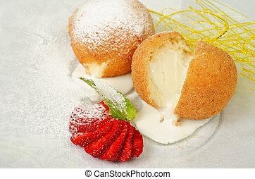 Dessert of ice-cream at biscuit