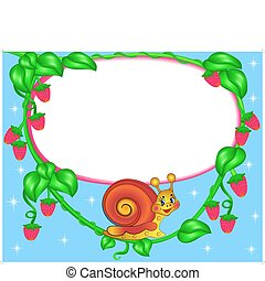 nursery frame for photo snail with berry - illustration...