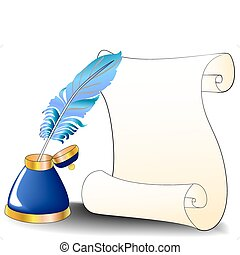 feather roll and inkwell for message - illustration feather...