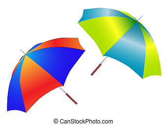 two beautiful umbrellas is insulated on white
