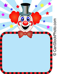 merry clown with paper for invitation - illustration merry...