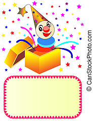 merry clown with paper in box - illustration merry clown...