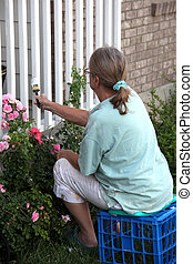 House painting - Female doing house painting outdoors.