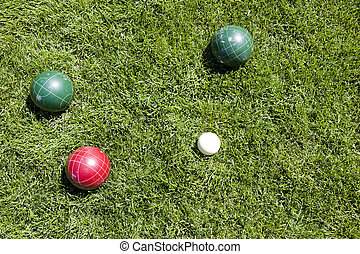 Bocce ball game on grass