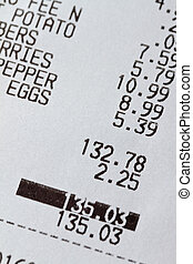 Grocery receipt - Grocery recipt with total