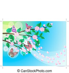 background with flowering branch of the cherries
