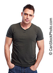 Man. - Handsome serious man. Isolated over white background