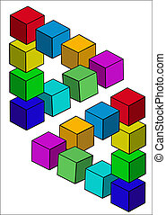 cubes illusion is insulated on white