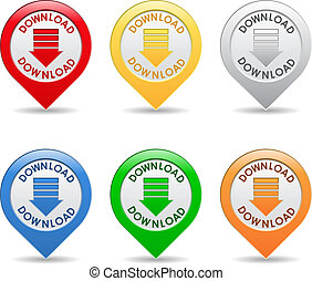Download buttons - Vector set of download buttons