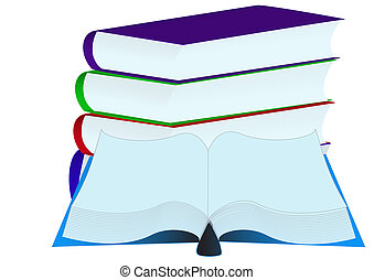 pile books insulated - illustration pile books insulated on...