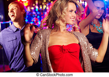 Rhythm of party - Image of energetic girl dancing on...