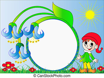 frame for photo goblin with flower - illustration frame for...