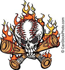 Softball Baseball Skull and Bats Fl - Cartoon Image of...