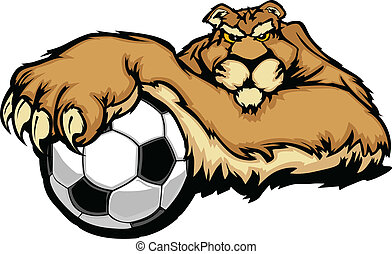 Cougar Mascot with Soccer Ball Vect - Graphic Mascot Vector...