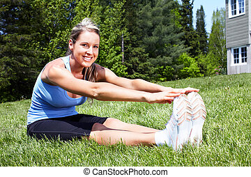 Yoga - Young woman doing yoga in park Healty lifestyle