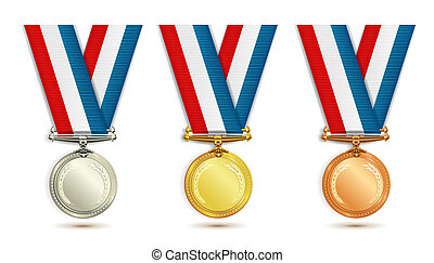 Set of medals - Set of gold, silver and bronze medals with...