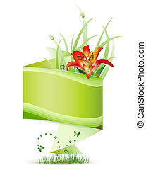 Origami green background