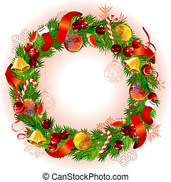 Christmas wreath with fir branches and balls