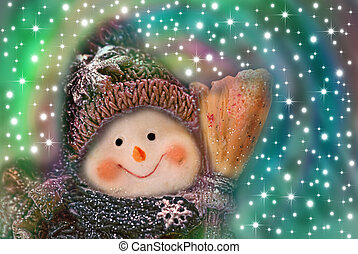 christmas card, funny snowman on background stars