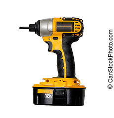 Impact driver - Yellow impact driver on white background