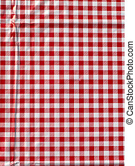 Red tablecloth - Red plastic check table cloth
