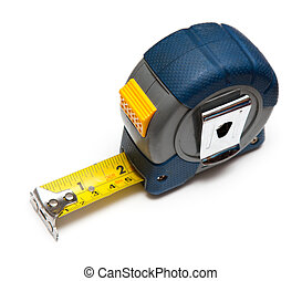 Tape measure - Blue tape measure on white background