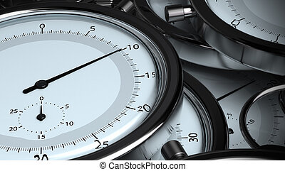 many stopwatches, 3D horizontal render. Image the tone is...