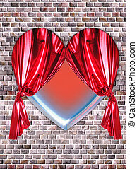 heart - A blue heart with a red curtain on a wall