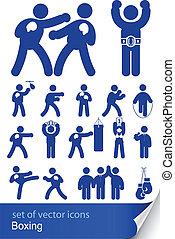 boxe, brincando, ícone
