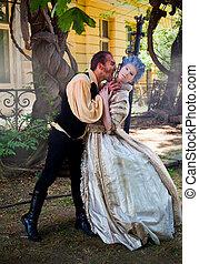 vampire attacking medieval woman - Male vampire biting...