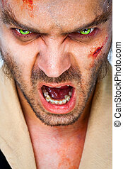zombie scary eyes - Portrait of sinister man wolf with scary...