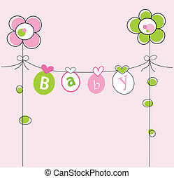 Baby Girl - Cute pink baby girl announcement