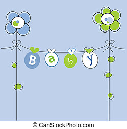 Baby Boy - Cute blue baby boy announcement