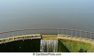 lake dam and water circle