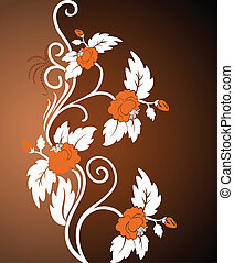 Curly orange flowers - brown background with white curly...