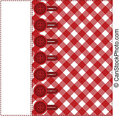 Buttons on a plaid background