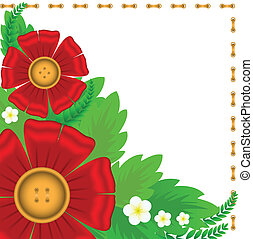 red flowers on textile stitched white background