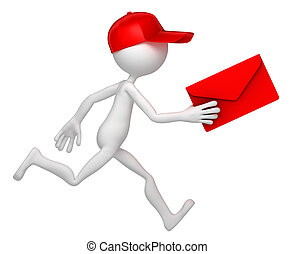 Mail delivery - Postman running with envelope. Isolated on...
