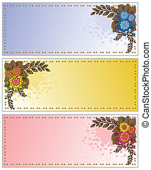 spattered cards with flowers - set of business cards...